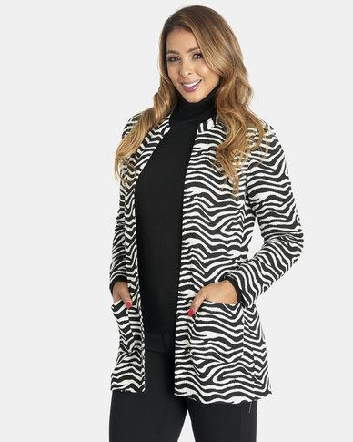 Contempo Zebra Jacquard Coat Black/White