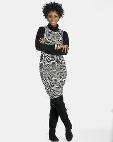 Contempo Zebra Jacquard Pinnie Black/White