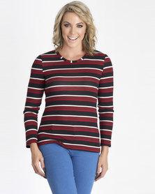 Contempo Stripe Knit Top Red