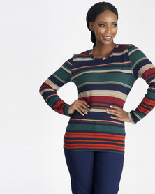 Contempo Stripe Knit Top Navy