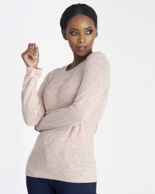 Contempo Melange Knit Top Light Pink