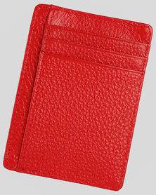 Genuine Leather Minimalist Wallet-RFID Blocking-Red
