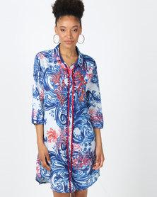 Antica Sartoria Blue Coral Shirt Dress