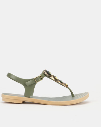 Grendha Jewels II Sandals Fem Beige Green