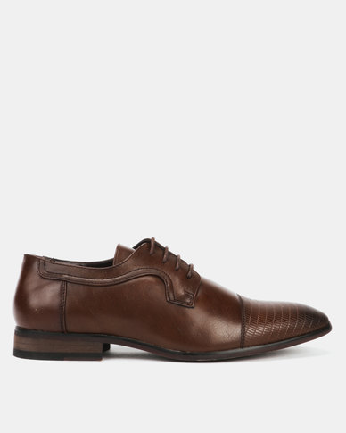 Utopia Formal Embossed Toe Lace Up Brown