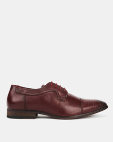 Utopia Formal Embossed Toe Lace Up Burgundy