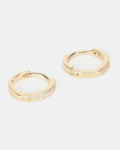 By Cara Diamante Small Huggie Earrings Gold