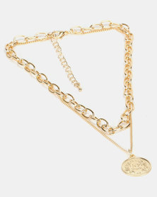 By Cara Coin Double Chain Link Set Gold