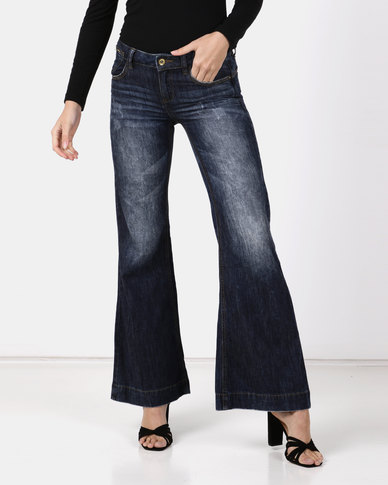 Only Daisey 70s Flared Jeans Blue