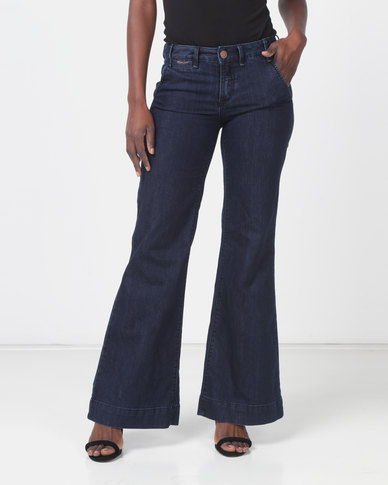 Only Piple 70s Flared Blue Jeans