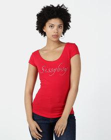 Sissy Boy Ruby-Mae Round Neck Logo Tee Red