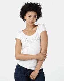 Sissy Boy Ruby-Mae Round Neck Logo Tee Off White