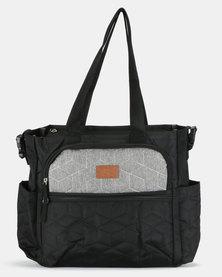 TotesBabe Caricia 22L Diaper Tote Bag Black and Grey