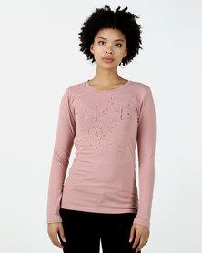 ECKÓ Unltd Nailhead Long Sleeve Top Pink