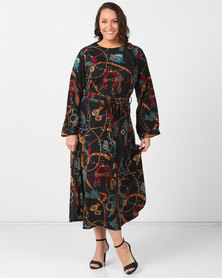 Utopia Plus Chain Print Maxi Dress Black