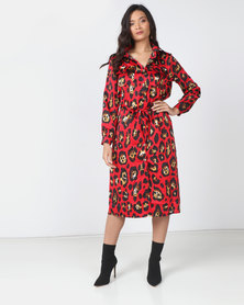 Utopia Animal Print Midi Dress Red
