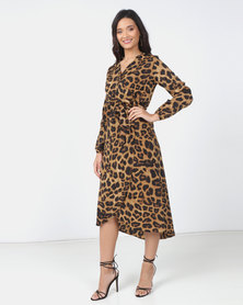 Utopia Animal Print Midi Dress Camel