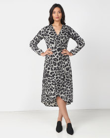 Utopia Animal Print Midi Dress Grey