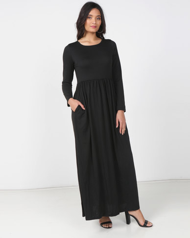 Utopia Knit Maxi Dress With Pockets Black