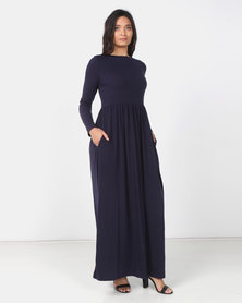 Utopia Knit Maxi Dress With Pockets Blue