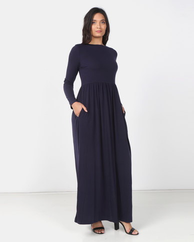 Utopia Knit Maxi Dress With Pockets Blue