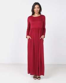 Utopia Knit Maxi Dress With Pockets Burgundy