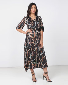 Utopia Chain Print Shirt Dress Black