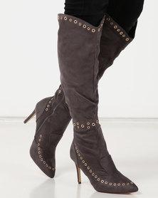Miss Black Desiree Eyelet Boots Grey
