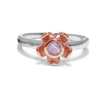 The Jeweller's Florist Forget Me Not Ring - Silver & Rose Gold -Rose Quartz