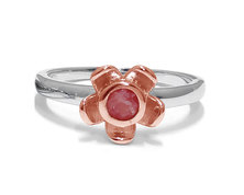 The Jeweller's Florist Forget Me Not Ring - Silver and Rose Gold - Garnet