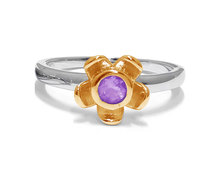 The Jeweller's Florist Forget Me Not Ring - Silver & Yellow Gold - Amethyst