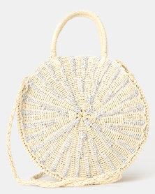 New Look Round Straw Effect Woven Cross Body Bag Silver