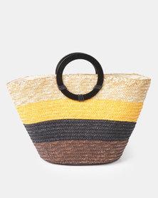 New Look Straw Stripe Ring Handle Tote Bag Brown