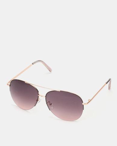 New Look Rimless Pilot Sunglasses Black