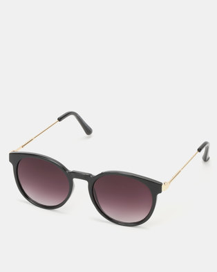 New Look Rounded Metal Temple Sunglasses Black