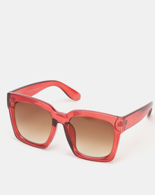 New Look Oversized Rectangular Sunglasses Red
