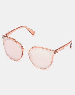 New Look Reflective Cat Eye Sunglasses Pink