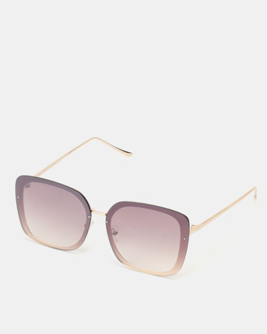 New Look Rimless Rectangle Sunglasses Gold