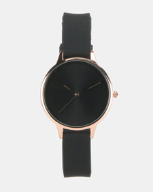 New Look Silicone Strap Rose Gold Watch  Black