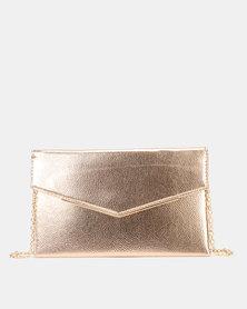 New Look Envelope Gold Trim Clutch Bag Rose Gold