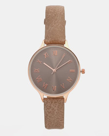 New Look Leather-Look Tonal Dial Strap Watch Dark Grey