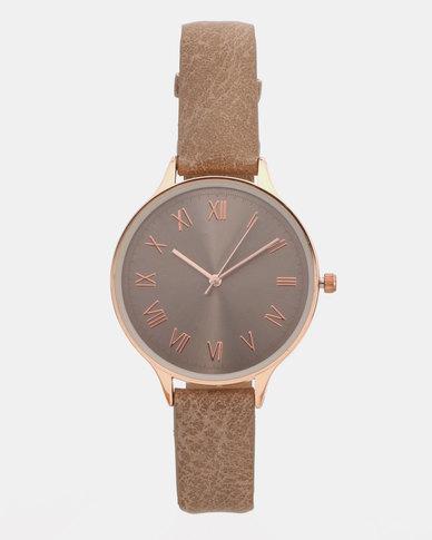 New Look Leather-Look Tonal Dial Strap Watch Dark Grey