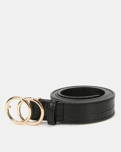 New Look Black Faux Croc Circle Buckle Hip Belt Black