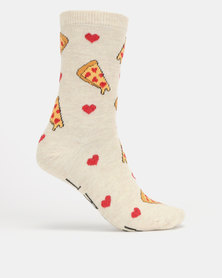 New Look Bring Me Pizza Slogan Socks Oatmeal