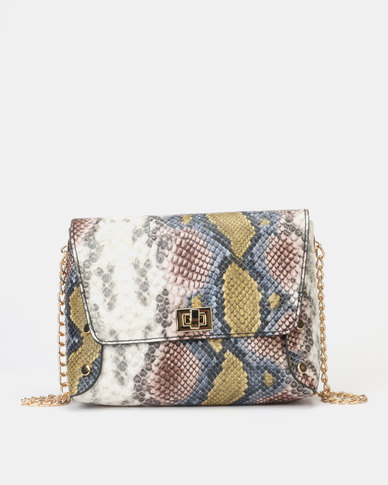 New Look Faux Snake Chain Strap Crossbody Bag Multi-coloured