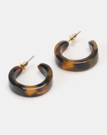 New Look Mini Faux-Tortoiseshell Hoop Earrings Brown