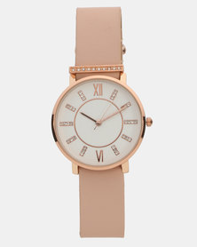 New Look Pink Leather-Look Strap Diamante Analogue Watch Pink