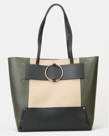 New Look Leather-Look Ring Strap Tote Bag Dark Khaki