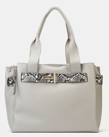 New Look Faux Snake Strap Tote Bag Grey
