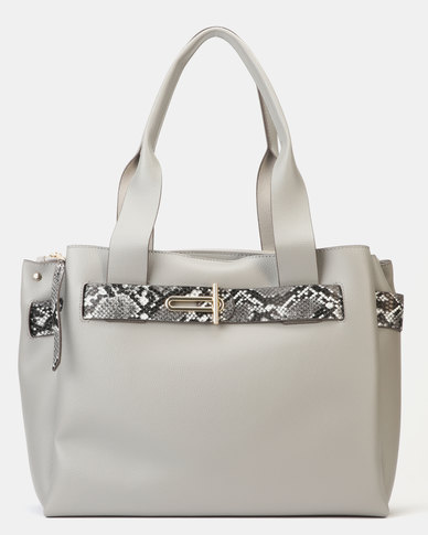 competitive price great look special section New Look Faux Snake Strap Tote Bag Grey